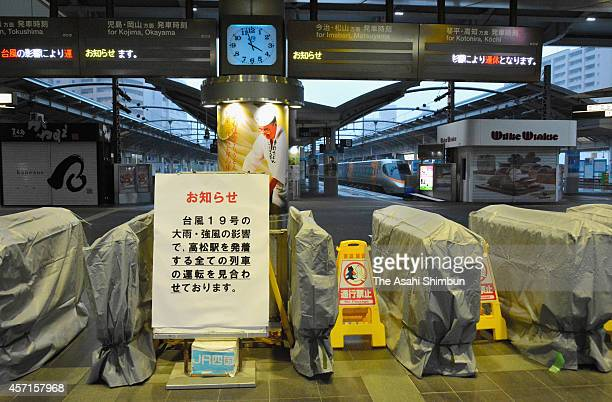 JR Takamatsu station is closeed after train service terminated due to Typhoon Vongfong approaching on October 13 2014 in Takamatsu Kagawa Japan As of...