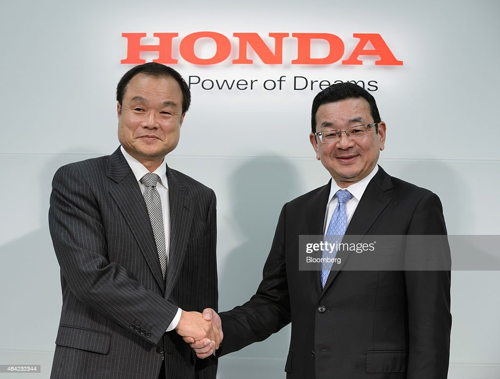 <a gi-track='captionPersonalityLinkClicked' href=/galleries/search?phrase=Takanobu+Ito&family=editorial&specificpeople=5696906 ng-click='$event.stopPropagation()'>Takanobu Ito</a>, outgoing president of Honda Motor Co., left, shakes hands with Takahiro Hachigo, incoming president, during a news conference in Tokyo, Japan, on Monday, Feb. 23, 2015. Ito will step aside as president of Japan's third-largest carmaker after quality lapses led to record vehicle recalls last year. Photographer: Akio Kon/Bloomberg via Getty Images