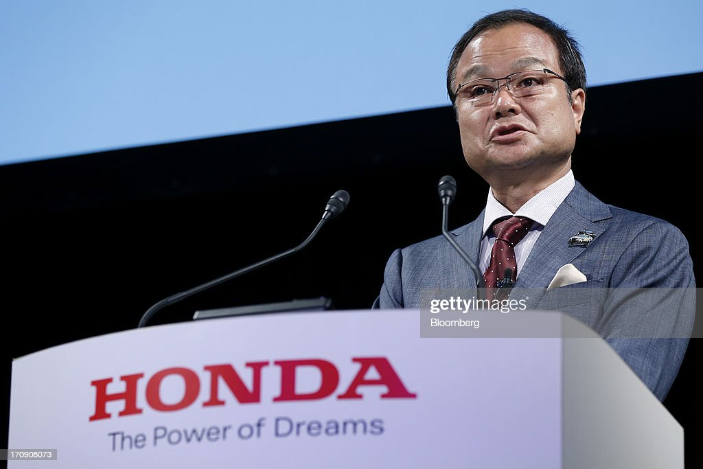 <a gi-track='captionPersonalityLinkClicked' href=/galleries/search?phrase=Takanobu+Ito&family=editorial&specificpeople=5696906 ng-click='$event.stopPropagation()'>Takanobu Ito</a>, president and chief executive officer of Honda Motor Co., speaks during the unveiling of the company's Accord hybrid sedan and Accord plug-in hybrid sedan in Tokyo, Japan, on Thursday, June 20, 2013. Honda, Japan's third-largest carmaker, unveiled a hybrid sedan at a 20 percent higher price than Toyota Motor Corp.'s gasoline-electric Camry, betting drivers will pay extra for fuel economy. Photographer: Kiyoshi Ota/Bloomberg via Getty Images