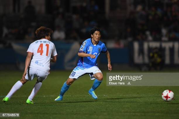 Takanobu Komiyama of Yokohama FC in action during the JLeague J2 match between Yokohama FC and Ehime FC at Nippatsu Mitsuzawa Stadium on May 3 2017...