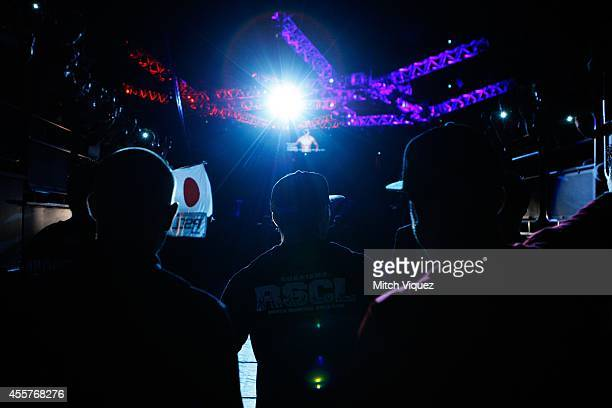 Takanori Gomi walks out before his lightweight bout during the UFC Fight Night event inside the Saitama Arena on September 20 2014 in Saitama Japan