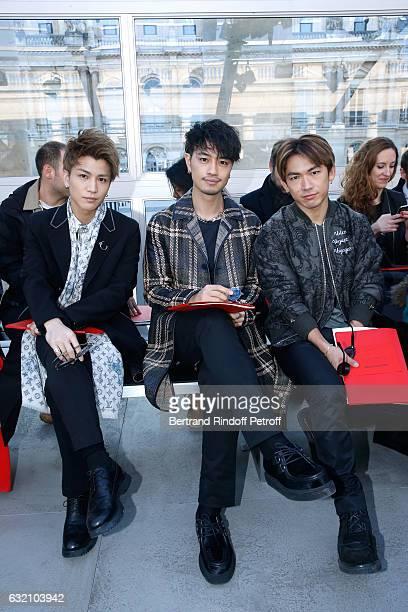 Takanori Iwata Takumi Saito and Naoto attend the Louis Vuitton Menswear Fall/Winter 20172018 show as part of Paris Fashion Week Held at Palais Royal...