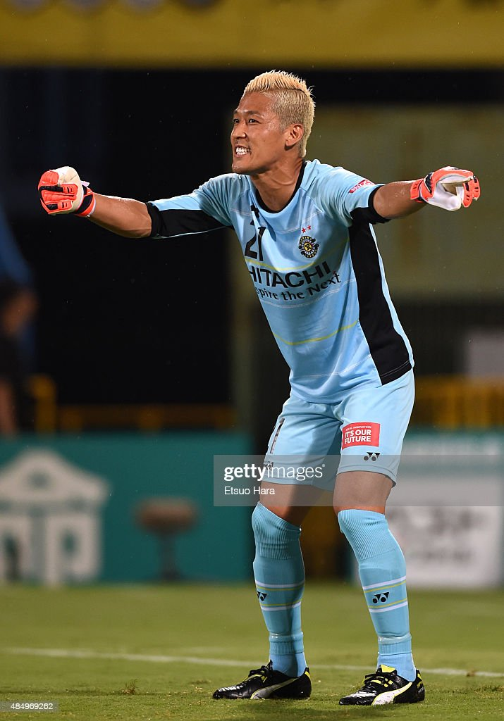 <a gi-track='captionPersonalityLinkClicked' href=/galleries/search?phrase=Takanori+Sugeno&family=editorial&specificpeople=5650990 ng-click='$event.stopPropagation()'>Takanori Sugeno</a> of Kashiwa Reysol gestures during the J.League match between Kashiwa Reysol and Matsumoto Yamaga at Hitachi Kashiwa Soccer Stadium on August 20, 2015 in Kashiwa, Chiba, Japan.