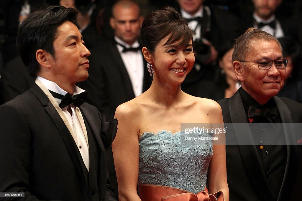 <a gi-track='captionPersonalityLinkClicked' href=/galleries/search?phrase=Takao+Osawa&family=editorial&specificpeople=3968046 ng-click='$event.stopPropagation()'>Takao Osawa</a>, <a gi-track='captionPersonalityLinkClicked' href=/galleries/search?phrase=Nanako+Matsushima&family=editorial&specificpeople=2849177 ng-click='$event.stopPropagation()'>Nanako Matsushima</a>, and <a gi-track='captionPersonalityLinkClicked' href=/galleries/search?phrase=Takashi+Miike&family=editorial&specificpeople=822402 ng-click='$event.stopPropagation()'>Takashi Miike</a> attend the Premiere of 'Wara No Tate' (Shield of Straw) during the 66th Annual Cannes Film Festival at the Palais des Festivals on May 20, 2013 in Cannes, France.