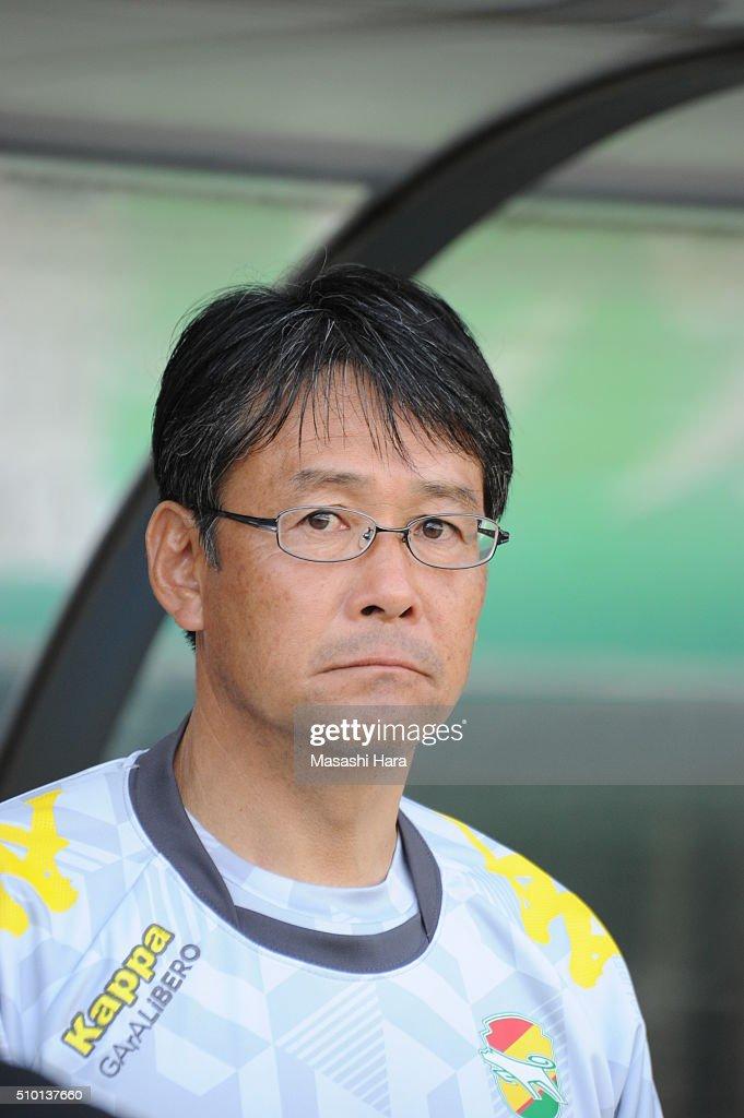 Takasahi Sekizuka,coach of JEF United Chiba looks on after the preseason friendly match between JEF United Chiba and Kashiwa Reysol at the Fukuda Denshi Arena on February 14, 2016 in Chiba, Japan.
