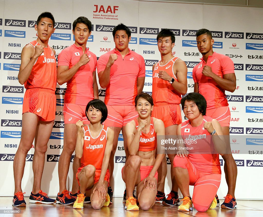 Takashi Eto, <a gi-track='captionPersonalityLinkClicked' href=/galleries/search?phrase=Shota+Iizuka&family=editorial&specificpeople=9558893 ng-click='$event.stopPropagation()'>Shota Iizuka</a>, <a gi-track='captionPersonalityLinkClicked' href=/galleries/search?phrase=Ryohei+Arai+-+Track+and+Field+Athlete&family=editorial&specificpeople=14903599 ng-click='$event.stopPropagation()'>Ryohei Arai</a>, <a gi-track='captionPersonalityLinkClicked' href=/galleries/search?phrase=Yoshihide+Kiryu&family=editorial&specificpeople=10879804 ng-click='$event.stopPropagation()'>Yoshihide Kiryu</a> and Julian Walsh, (front row, L to R) <a gi-track='captionPersonalityLinkClicked' href=/galleries/search?phrase=Ayuko+Suzuki&family=editorial&specificpeople=14728701 ng-click='$event.stopPropagation()'>Ayuko Suzuki</a>, <a gi-track='captionPersonalityLinkClicked' href=/galleries/search?phrase=Chisato+Fukushima&family=editorial&specificpeople=2254354 ng-click='$event.stopPropagation()'>Chisato Fukushima</a> and <a gi-track='captionPersonalityLinkClicked' href=/galleries/search?phrase=Yuki+Ebihara&family=editorial&specificpeople=4068225 ng-click='$event.stopPropagation()'>Yuki Ebihara</a> pose for photographs during the Track and Field Japan Team for Rio de Janeiro Olympic Games press conference on June 27, 2016 in Tokyo, Japan.