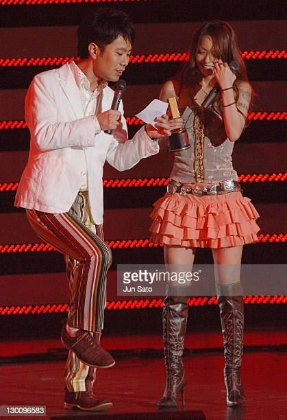 Takashi Fujii and Namie Amuro during MTV Video Music Awards Japan 2005 Show at Tokyo Bay NK Hall in Urayasu Japan