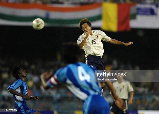 Takashi Fukunishi of Japan shots at goal during the FIFA World Cup Asian Qualifier match between India and Japan at Saltlake Stadium on September 8...