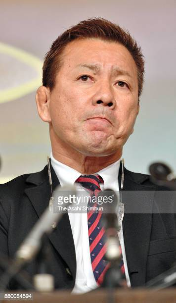 Takashi Hida a highranking official of the Liberal Democratic Party's Kishiwada branch attends a press conference on November 27 2017 in Kishiwada...