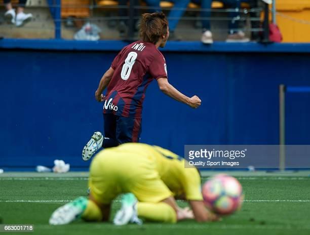 Takashi Inui of Eibar celebrates after scoring a goal during the La Liga match between Villarreal CF and SD Eibar at Estadio de la Ceramica on April...