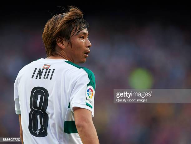 Takashi Inui of Eibar looks on during the La Liga match between FC Barcelona and SD Eibar at Camp Nou Stadium on May 21 2017 in Barcelona Spain