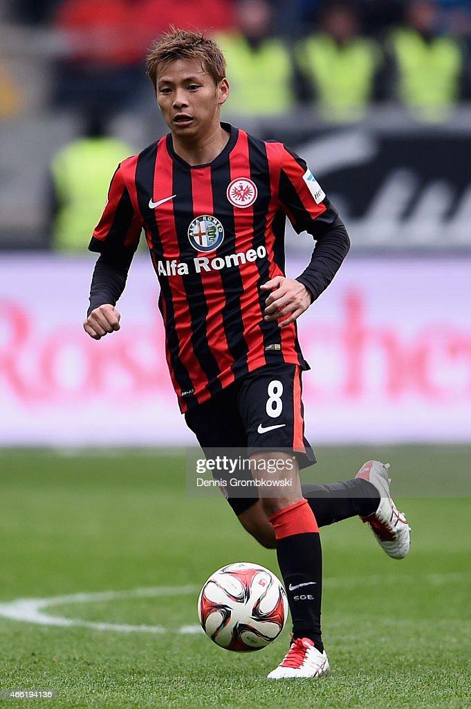 Takashi Inui of Eintracht Frankfurt controls the ball during the Bundesliga match between Eintracht Frankfurt and SC Paderborn 07 at CommerzbankArena...