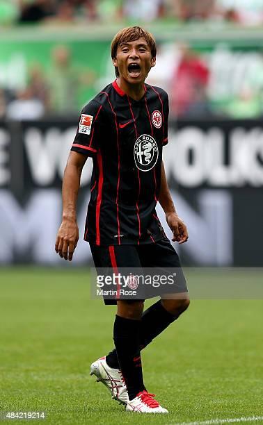 Takashi Inui of Eintracht Frankfurt reacts during the Bundesliga match between VfL Wolfsburg and Eintracht Frankfurt at Volkswagen Arena on August 16...
