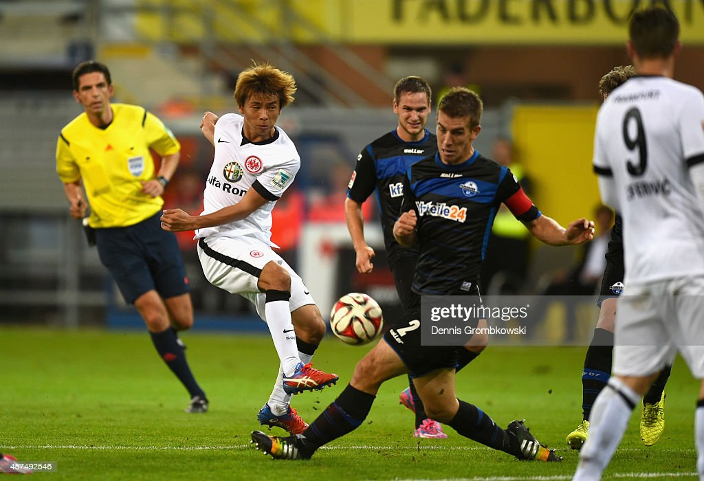 Takashi Inui of Eintracht Frankfurt takes a shot during the Bundesliga match between SC Paderborn 07 and Eintracht Frankfurt at Benteler Arena on...