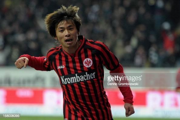 Takashi Inui of Frankfurt celebrates after scoring during the Bundesliga match between Eintracht Frankfurt and SV Werder Bremen at CommerzbankArena...