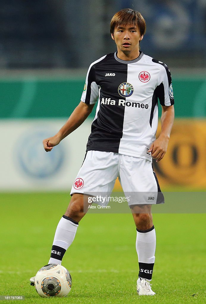 Takashi Inui of Frankfurt controles the ball during the DFB Cup second round match between Eintracht Frankfurt and VfL Bochum at Commerzbank-Arena on September 25, 2013 in Frankfurt am Main, Germany.