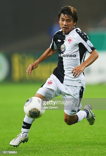 Takashi Inui of Frankfurt controles the ball during the DFB Cup second round match between Eintracht Frankfurt and VfL Bochum at CommerzbankArena on...