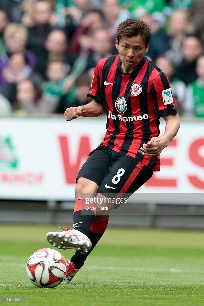 Takashi Inui of Frankfurt in action during the First Bundesliga match between SV Werder Bremen and Eintracht Frankfurt at Weserstadion on May 2 2015...