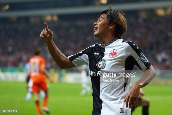 Takashi Inui of Frankfurt reacts after a disallowed goal during the DFB Cup second round match between Eintracht Frankfurt and VfL Bochum at...