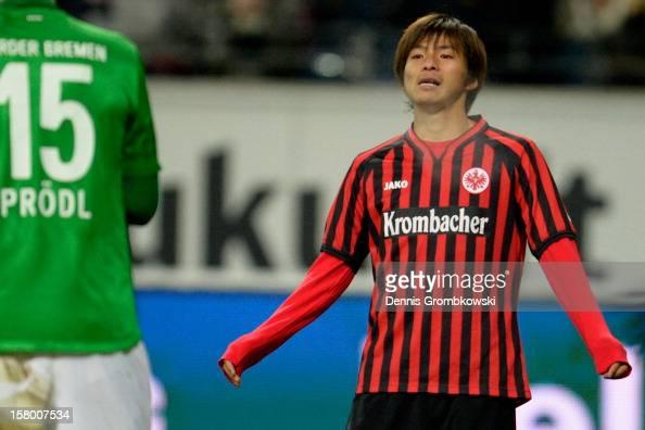 Takashi Inui of Frankfurt reacts during the Bundesliga match between Eintracht Frankfurt and SV Werder Bremen at CommerzbankArena on December 8 2012...
