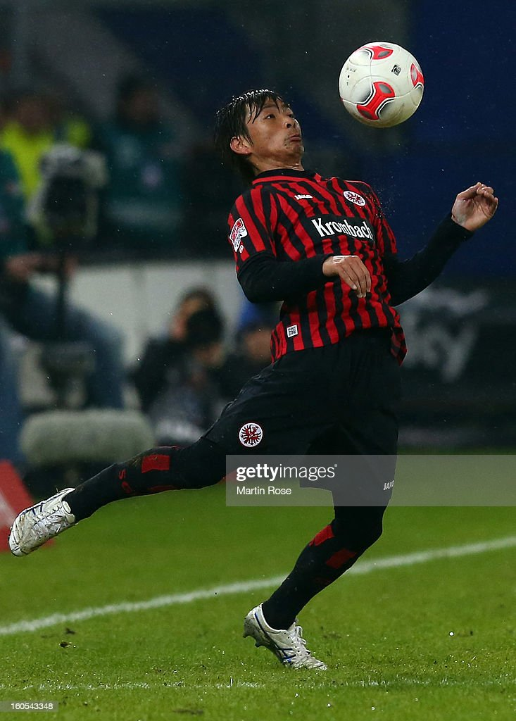 <a gi-track='captionPersonalityLinkClicked' href=/galleries/search?phrase=Takashi+Inui&family=editorial&specificpeople=7174976 ng-click='$event.stopPropagation()'>Takashi Inui</a> of Frankfurt stops the ball during the Bundesliga match between Hamburger SV and Eintracht Frankfurt at Imtech Arena on February 2, 2013 in Hamburg, Germany.