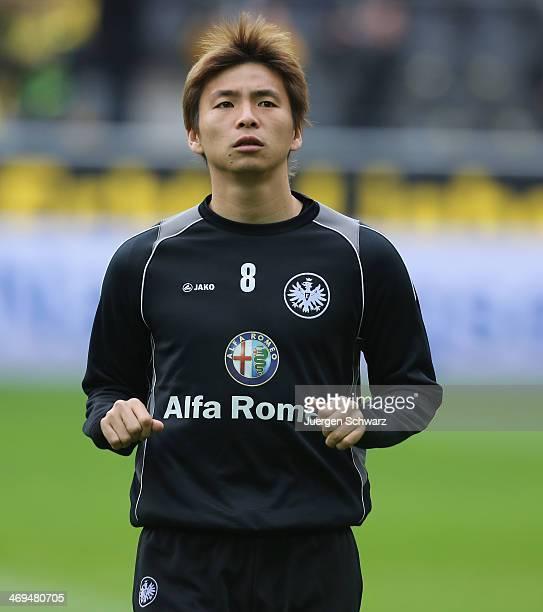 Takashi Inui of Frankfurt warms up at the Bundesliga match between Borussia Dortmund and Eintracht Frankfurt at Signal Iduna Park on February 15 2014...