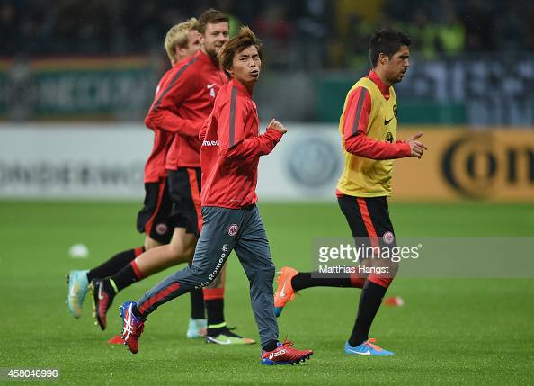 Takashi Inui of Frankfurt warms up before the DFB cup second round match between Eintracht Frankfurt and Borussia Moenchengladbach at...
