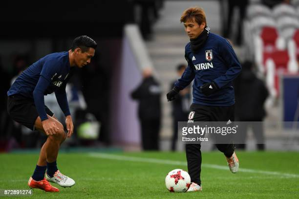 Takashi Inui of Japan warms up prior to the international friendly match between Brazil and Japan at Stade PierreMauroy on November 10 2017 in Lille...