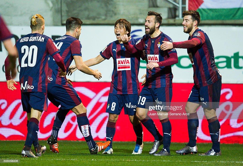 Takashi Inui of SD Eibar celebrates after scoring goal during the La Liga match between SD Eibar and Granada CF at Ipurua Municipal Stadium on...