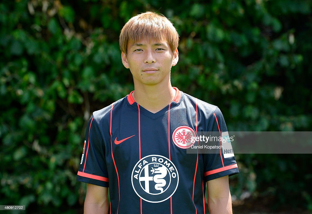 Takashi Inui poses during the Eintracht Frankfurt team presentation on July 15 2015 in Frankfurt am Main Germany