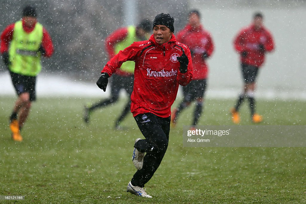 Takashi Inui runs during a Eintracht Frankfurt training session at Commerzbank-Arena on February 19, 2013 in Frankfurt am Main, Germany.