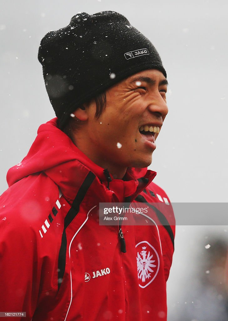Takashi Inui smiles during a Eintracht Frankfurt training session at Commerzbank-Arena on February 19, 2013 in Frankfurt am Main, Germany.