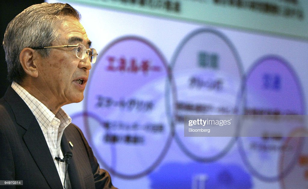 Takashi Kawamura, chairman, president and chief executive officer of Hitachi Ltd., speaks during a news conference in Tokyo, Japan, on Tuesday, July 28, 2009. Hitachi Ltd., Japan's third-largest manufacturer, offered to buy out five publicly traded subsidiaries and affiliates for 282.2 billion yen ($3 billion) to help speed up business decisions and reduce overlapping costs.