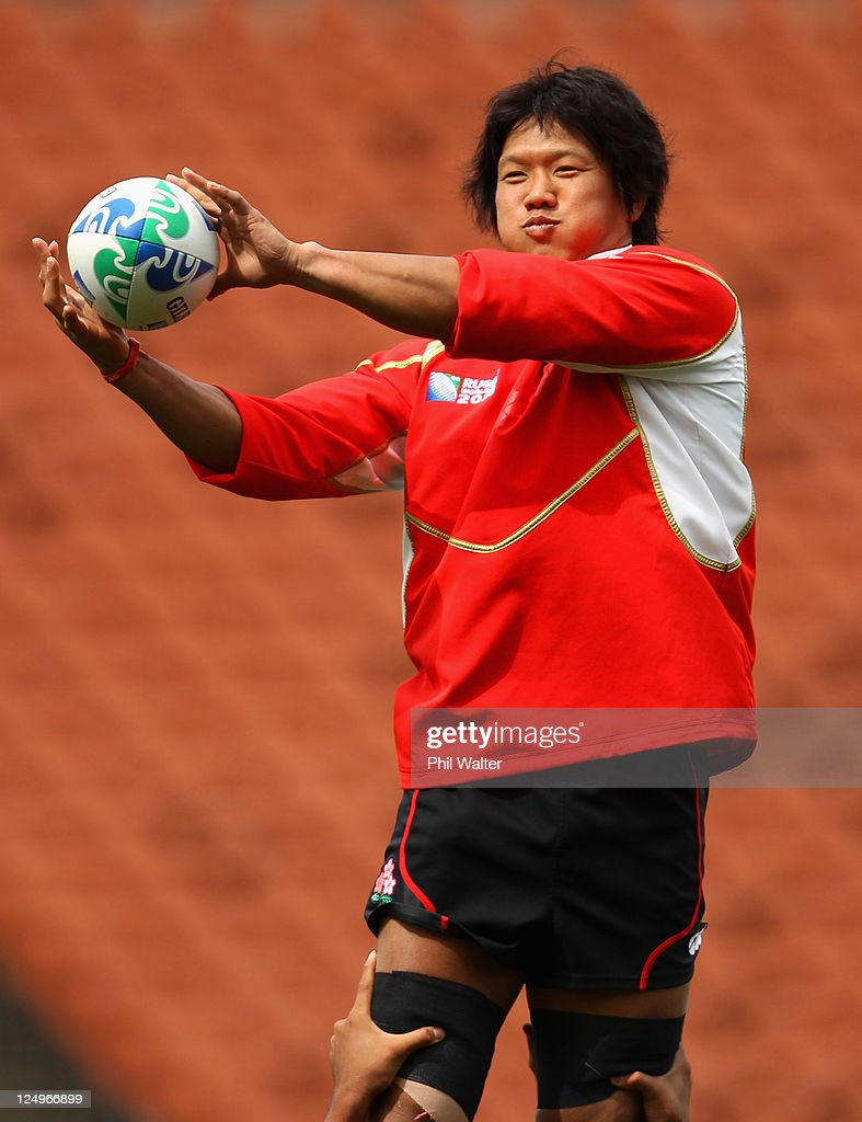 <a gi-track='captionPersonalityLinkClicked' href=/galleries/search?phrase=Takashi+Kikutani&family=editorial&specificpeople=563879 ng-click='$event.stopPropagation()'>Takashi Kikutani</a> of Japan takes the ball in a lineout during a Japan IRB Rugby World Cup 2011 captain's run at Waikato Stadium on September 15, 2011 in Hamilton, New Zealand.