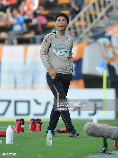 Takashi Kiyamacoach of Ehime FC looks on during the JLeague Division2 match between JEF United Chiba and Efime FC at Fukuda Denshi Arena on October 4...