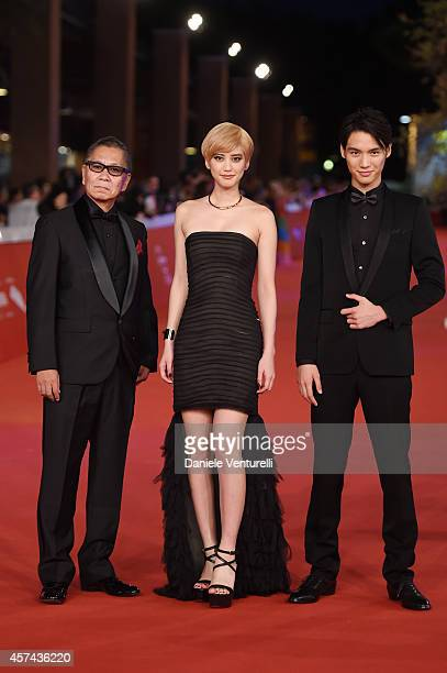 Takashi Miike Sota Fukushi and Hirona Yamazaki attend the 'As the Gods Will' Red Carpet during the 9th Rome Film Festival on October 18 2014 in Rome...
