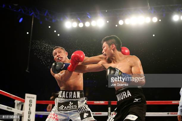 Takashi Miura punches Miguel Berchelt during the WBC Super Featherweight Title Fight at The Forum on July 15 2017 in Inglewood California
