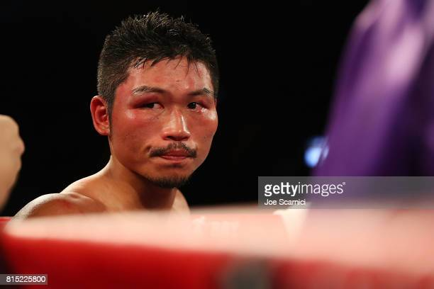 Takashi Miura reacts to losing the WBC Super Featherweight Title Fight against Miguel Berchelt at The Forum on July 15 2017 in Inglewood California
