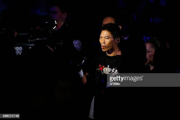 Takashi Miura walks to the ring before taking on Francisco Vargas during their WBC super featherweight title fight at the Mandalay Bay Events Center...