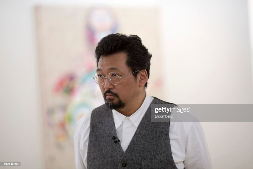 Takashi Murakami, a Japanese contemporary artist, pauses during an interview at the Galerie Perrotin in Hong Kong, China, on Monday, May 20, 2013. The exhibition 'Takashi Murakami' will be on show until July 6. Photographer: Jerome Favre/Bloomberg via Getty Images