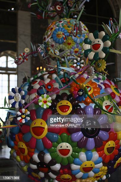 Takashi Murakami Exhibition At The Chateau De Versailles France In the hall of mirrors a work of 2001/2006 named 'Flower Matango' made of fiberglass...
