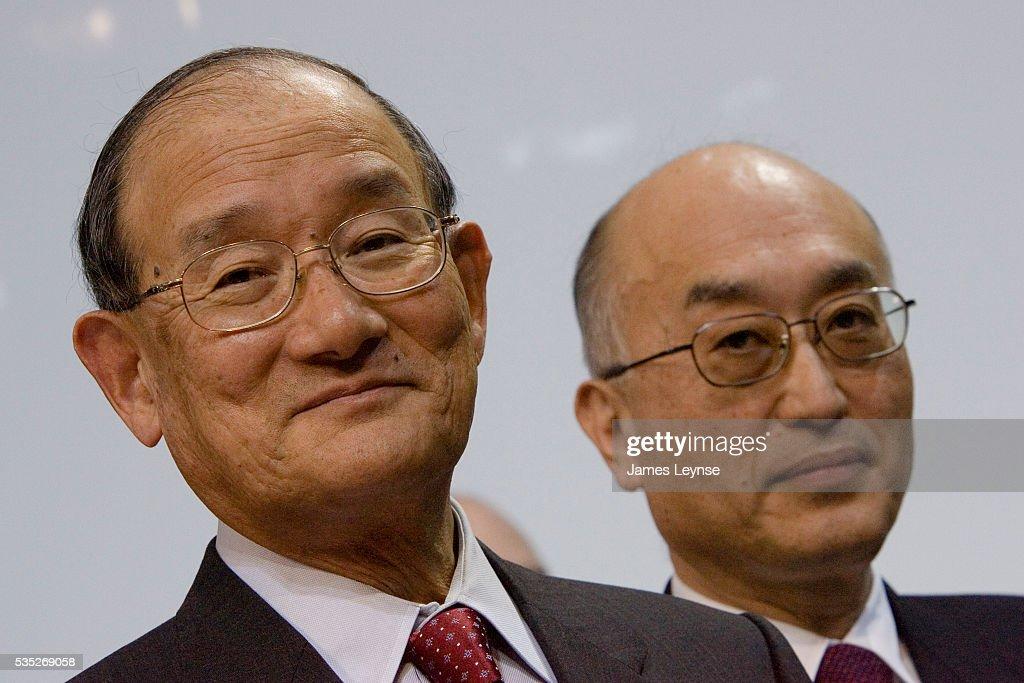 Takashi Nishioka Chairman of Mitsubishi Motors Corporation and Mitsubishi Heavy Industries and Hiroshi Harunari President and CEO of Mitsubishi North...