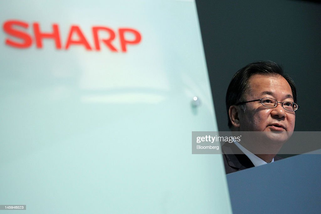 Sharp New President Takashi Okuda Holds News Conference On Business Strategy