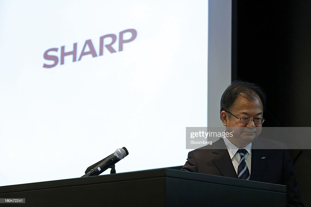 <a gi-track='captionPersonalityLinkClicked' href=/galleries/search?phrase=Takashi+Okuda&family=editorial&specificpeople=9017977 ng-click='$event.stopPropagation()'>Takashi Okuda</a>, president of Sharp Corp., steps away from the podium during a news conference in Tokyo, Japan, on Friday, Feb. 1, 2013. Sharp Corp., the Japanese TV-maker that has warned about its ability to survive, posted a narrower loss helped by job cuts asset sales and a weaker yen. Photographer: Kiyoshi Ota/Bloomberg via Getty Images