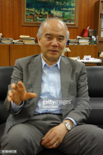 Takashi Onishi president of the Science Council of Japan and head of the Toyohashi University of Technology speaks during an interview about the...
