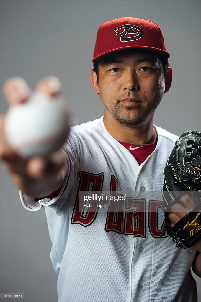 Takashi Saito #48 of the Arizona Diamondbacks poses during photo day at Salt River Fields at Talking Stick on March 1, 2012 in Scottsdale, Arizona.