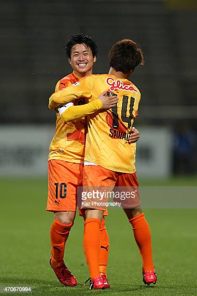 Takashi Sawada of Shimizu SPulse celebrates scoring his team's second goal with his team mate Genki Omae during the JLeague Yamazaki Nabisco Cup...