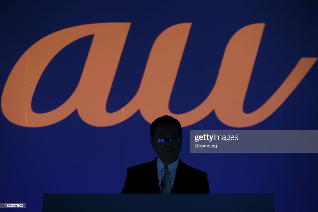Takashi Tanaka president of KDDI Corp attends a product launch event for the company's 'au' brand of smartphones in Tokyo Japan on Wednesday Oct 2...