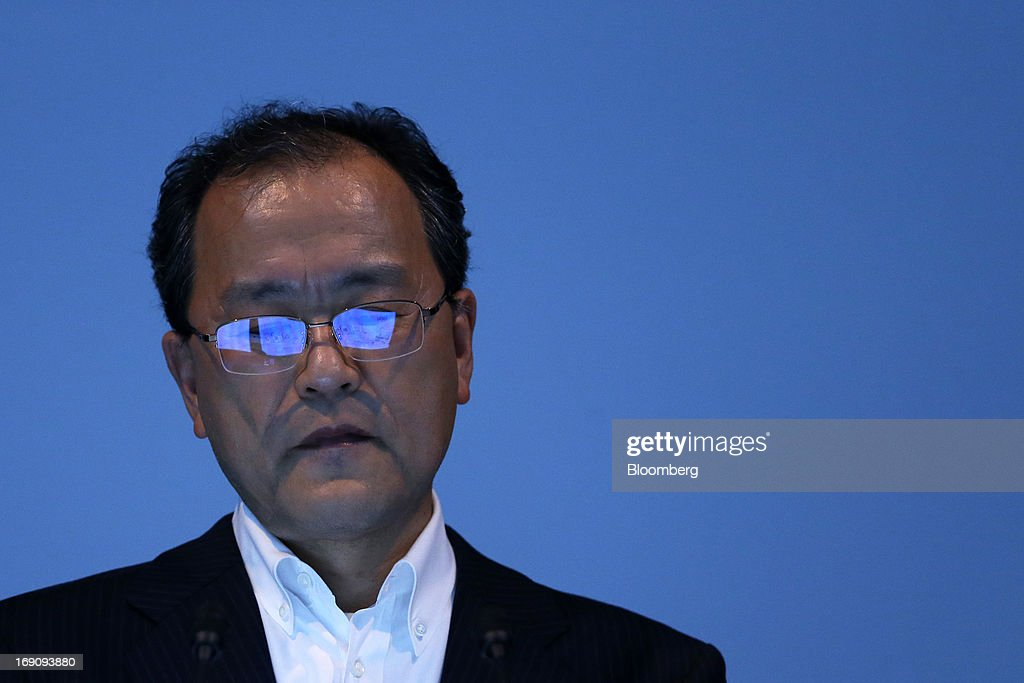 Takashi Tanaka president of KDDI Corp attends the unveiling of the company's new products and services in Tokyo Japan on Monday May 20 2013 KDDI Corp...