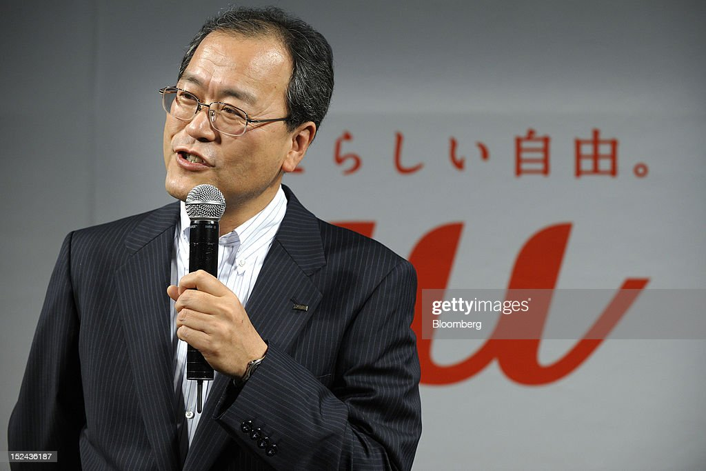 Takashi Tanaka president of KDDI Corp speaks during a launch event for the Apple Inc iPhone 5 in Tokyo Japan on Friday September 21 2012 Apple is...